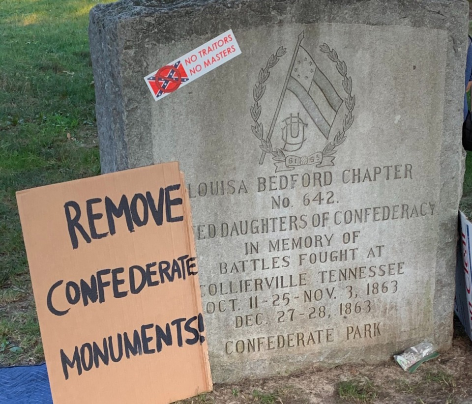 <strong>Collierville Police arrested six people Friday, Oct. 9 for vandalism of the monument in Town Square Park.</strong> (Abigail Warren/Daily Memphian file)