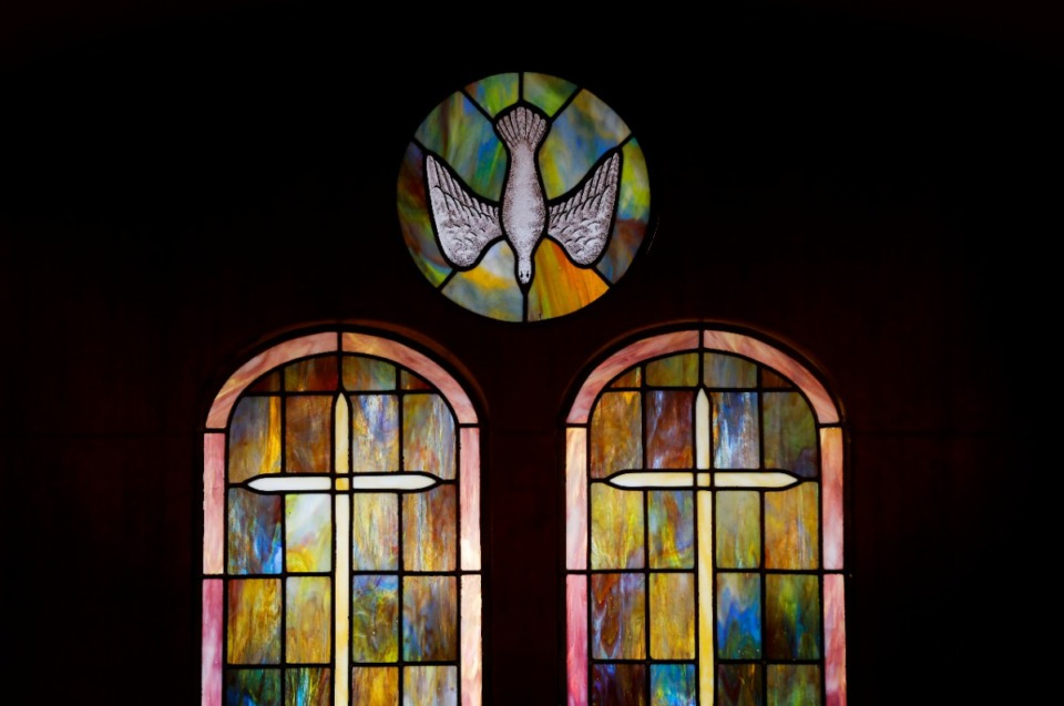 <strong>Stained-glass panels inside a secondary area of the former Baron Hirsch Synagogue, now home to Gethsemane Garden COGIC congregation and its COGIC jurisdictional headquarters.</strong> (Mark Weber/Daily Memphian)