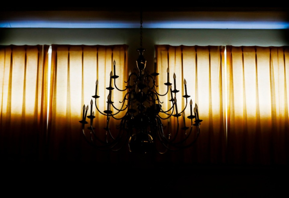 <strong>An original chandelier is in a dining hall inside the former Baron Hirsch building.</strong> (Mark Weber/Daily Memphian)