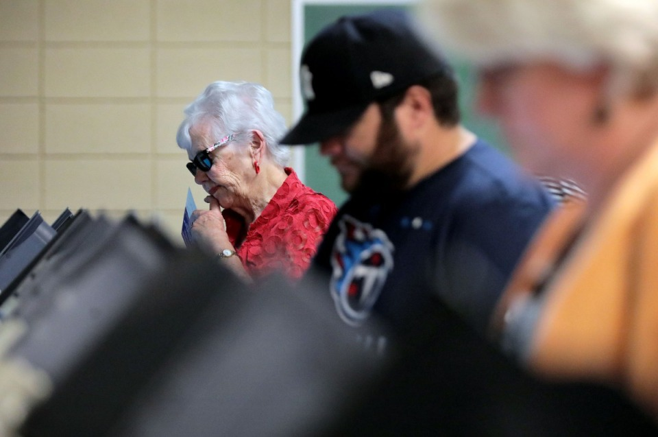 <strong>Voters mark their ballots at the White Station Church of Christ in East Memphis on Sept. 20, 2020.</strong> (Patrick Lantrip/Daily Memphian)