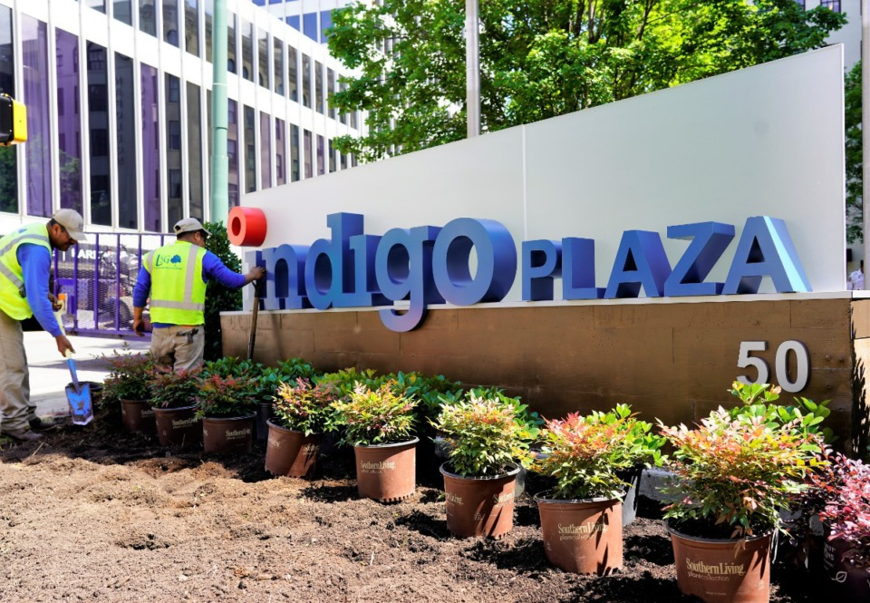 <strong>In anticipation of the inaugural Beneficial Ag conference in June of last year, Indigo Ag installed new signage, officially turning Toyota Plaza into Indigo Plaza.</strong> (Daily Memphian file)