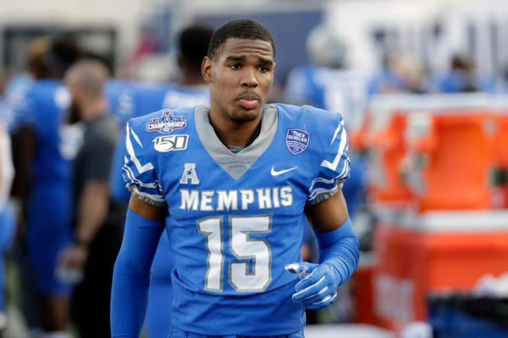 Memphis' Quindell Johnson walks on the sideline during the first half of an NCAA college football game against Cincinnati last December. (AP file Photo/Mark Humphrey)