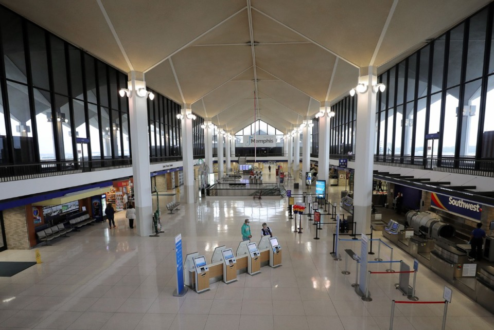 <strong>While flights and the number of seats available are drastically down, Memphis International Airport (in an April 23, 2020 file photo) is ahead of national averages, airport officials say.</strong> (Patrick Lantrip/Daily Memphian)