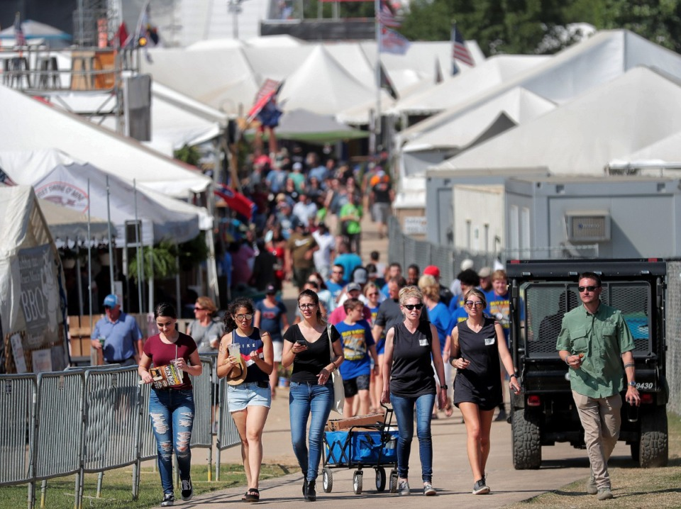 <strong>The 2020 Memphis in May International Festivalwas initially postponed until the fall, then canceled altogether after the COVID-19 pandemic lingered. At the 2019 event, pleasant weather on the final day of the World Championship Barbecue Cooking Contest drew large crowds to Tom Lee Park.</strong> (Jim Weber/Daily Memphian file)
