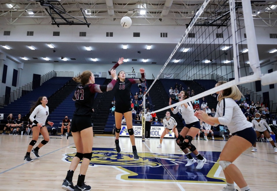 <strong>Collierville&rsquo;s Brinley Burdette (18) goes up for spike during an Oct. 15, 2020, match against Arlington.</strong> (Patrick Lantrip/Daily Memphian)