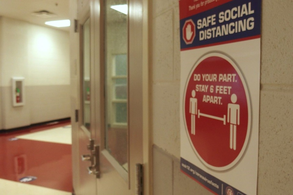 <strong>Shelby County Schools announced that all classes would be online until further notice in July. Some school buildings already had social distancing stickers on the floor in anticipation of students returning.</strong>&nbsp;(Laura Faith Kebede / Chalkbeat)