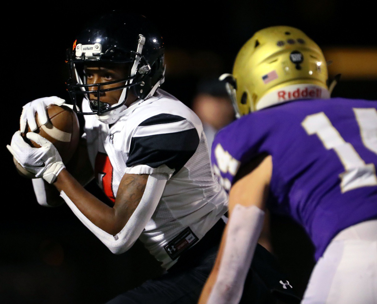<strong>PURE receiver Tyler Shaw (2) hauls in a reception during an Oct. 16, 2020, game at CBHS.</strong> (Patrick Lantrip/Daily Memphian)