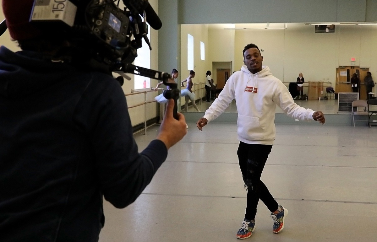 """<strong>Charles &ldquo;Lil Buck&rdquo; Riley rehearses for the """"Nut Remix"""" at New Ballet Ensemble &amp; School, while two French documentarians filmed him in 2018 for an upcoming television series</strong>. (Patrick Lantrip/Daily Memphian file)"""