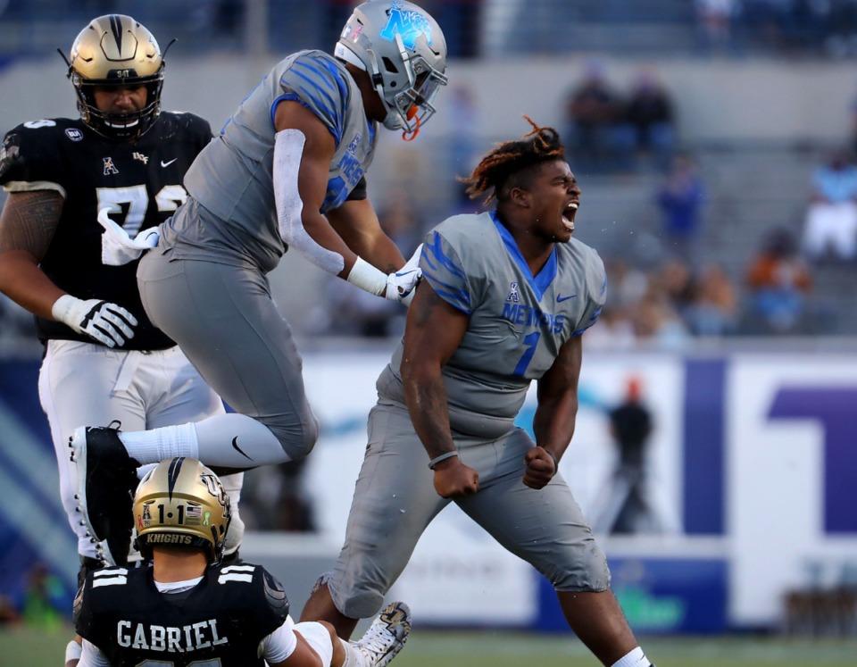 <strong>University of Memphis defensive lineman O'Bryan Goodson (1) celebrates after sacking University of Central Florida quarterback Dillon Gabriel (11) during an Oct. 17, 2020 game at Liberty Bowl Memorial Stadium.</strong> (Patrick Lantrip/Daily Memphian)