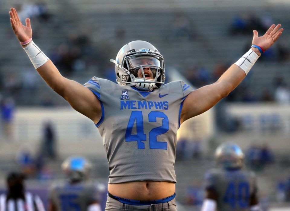 <strong>University of Memphis long snapper Preston Brady (42) celebrates while watching a special teams repay during an Oct. 17, 2020 game against University of Central Florida at Liberty Bowl Memorial Stadium.</strong> (Patrick Lantrip/Daily Memphian)