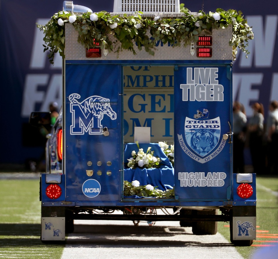 <strong>The ashes of University of Memphis mascot TOM III made one last trip around Liberty Bowl Memorial Stadium during the Oct. 17, 2020 game against the University of Central Florida.</strong> (Patrick Lantrip/Daily Memphian)