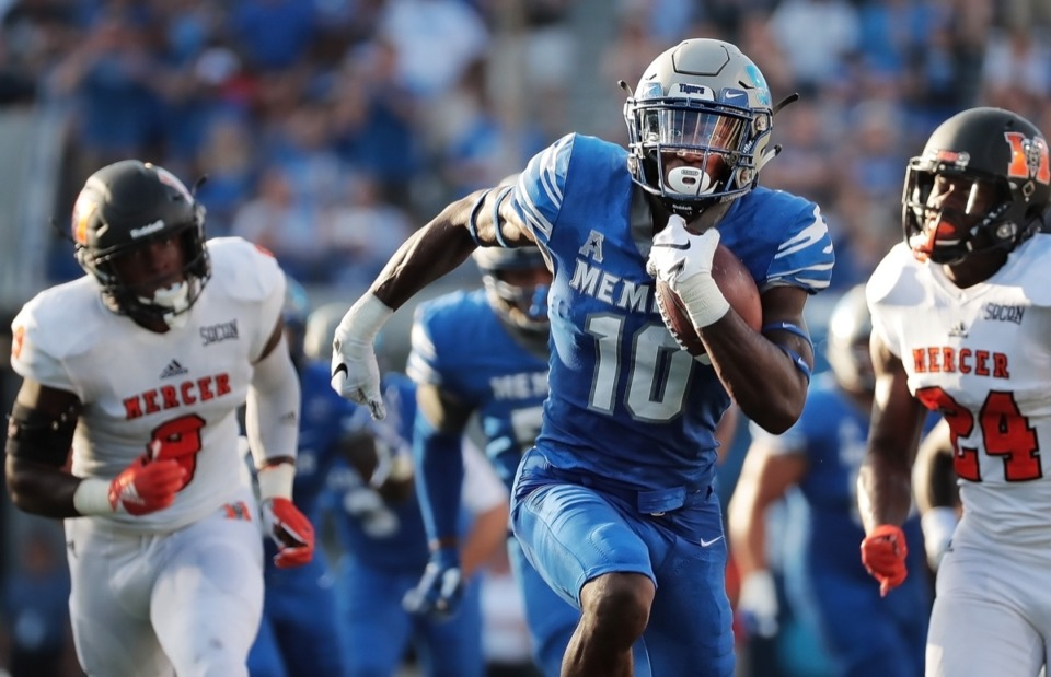 <strong>University of Memphis receiver Damonte Coxie breaks away for a touchdown during the University of Memphis Tigers' game against the Mercer Bears at the Liberty Bowl Memorial Stadium on September 1, 2018. Coxie has officially opted out of the 2020 season. </strong>(Daily Memphian file)