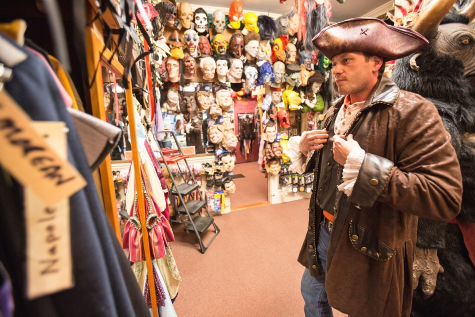 <strong>Blake Poe tries a pirate costume on for size at Mr. Lincoln's Costume Shoppe in Overton Square in a file photo.</strong> (Daily Memphian)