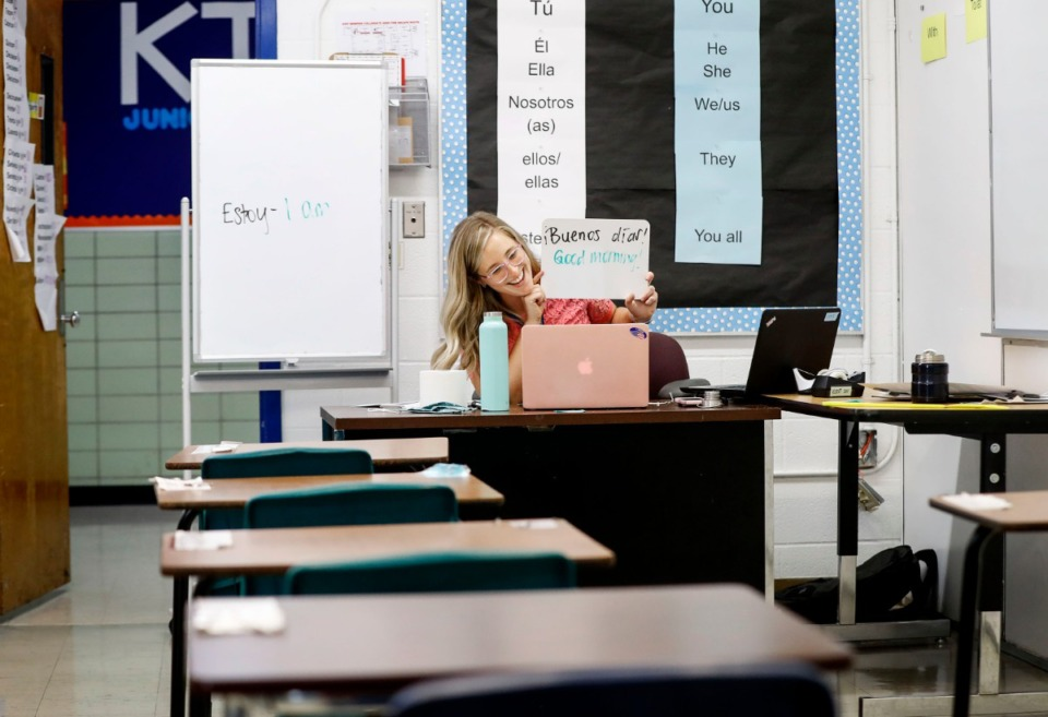<strong>KIPP Memphis Collegiate High Spanish III teacher Sarah Kerst welcomes her students to the first day of virtual school from her empty classroom on Monday, August 31, 2020.</strong> (Daily Memphian file)