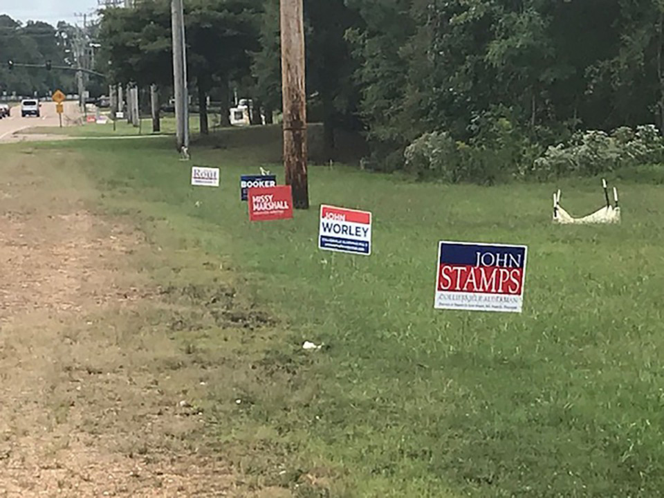 <strong>Campaign signs line Houston Levee Road.</strong> (Clay Bailey/Daily Memphian)