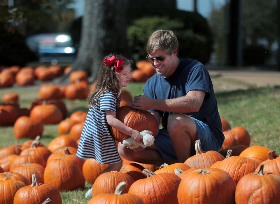 <strong>Conner Bills and his daughter Avalyn pick out a pumpkin at St. Peter's Episcopal Church in Oxford, Mississippi, Oct. 20, 2020.</strong> (Patrick Lantrip/Daily Memphian)