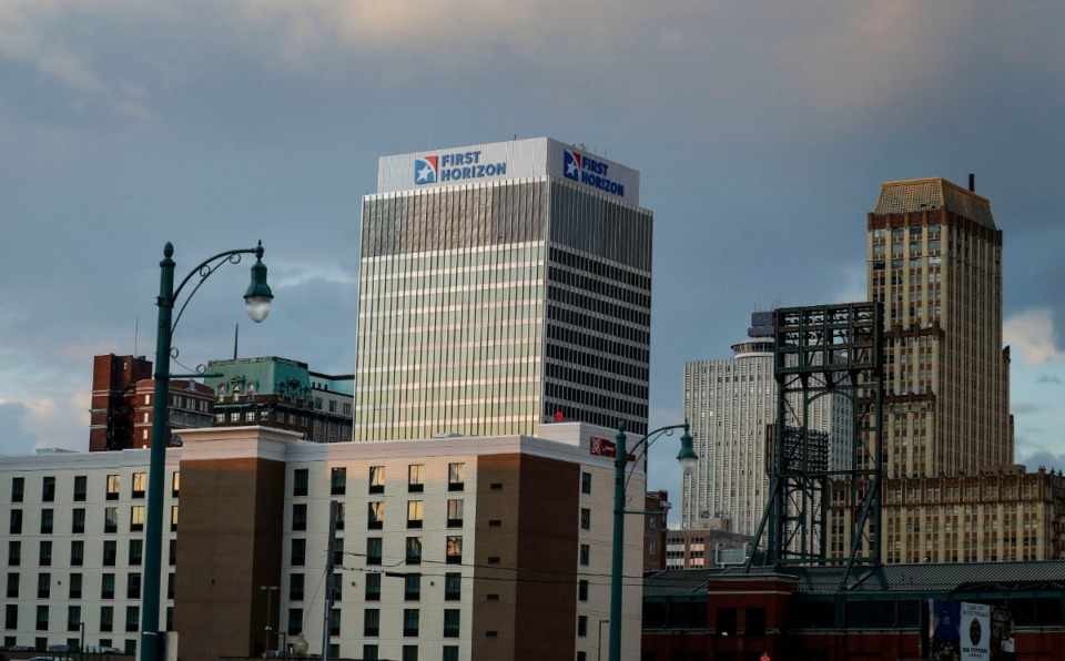 <strong>First Horizon Bank downtown headquarters on Wednesday, Nov. 6, 2019.</strong> (Mark Weber/Daily Memphian file)