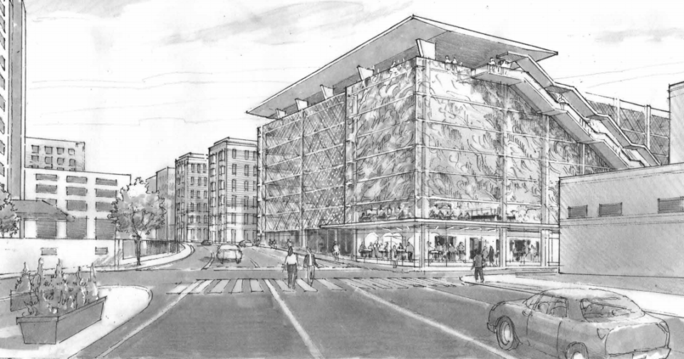 <strong>The nine-level building (in a rendering looking north from Front Street just south of Beale) would rise across from the Orpheum Theatre, providing 1,400 spaces, a rooftop restaurant, showers, lockers and storage for travelers and commuters. </strong>(Credit: LRK)