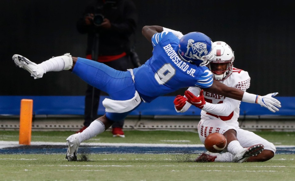 <strong>Memphis defender John Broussard Jr. (left) is called for pass interference against Temple receiver Jose Barbon (right) during action on Saturday, Oct. 24, 2020 at Liberty Bowl Memorial Stadium.</strong> (Mark Weber/The Daily Memphian)