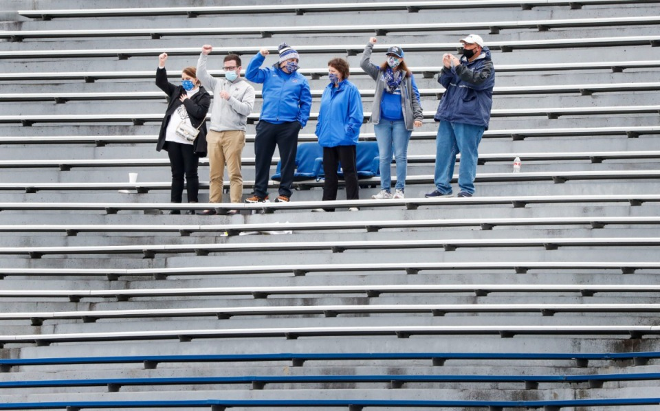 <strong>Tigers fans celebrates a Memphis touchdown against Temple during action on Saturday, Oct. 24, 2020 at Liberty Bowl Memorial Stadium.</strong> (Mark Weber/The Daily Memphian)