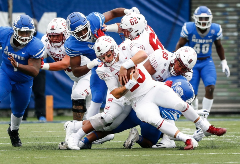 <strong>Temple quarterback Anthony Russo (middle) is sacked by the Memphis defense during action on Saturday, Oct. 24, 2020 at Liberty Bowl Memorial Stadium.</strong> (Mark Weber/The Daily Memphian)