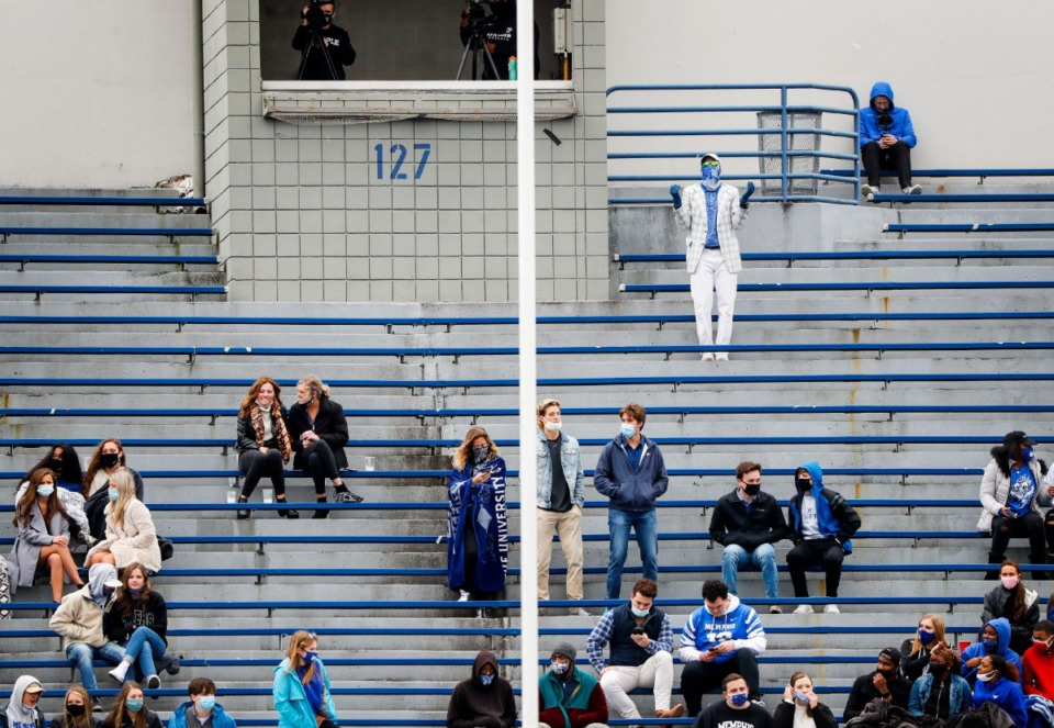 <strong>Tigers fans watch the action as Memphis takes on Temple on Saturday, Oct. 24, 2020 at Liberty Bowl Memorial Stadium.</strong> (Mark Weber/The Daily Memphian)