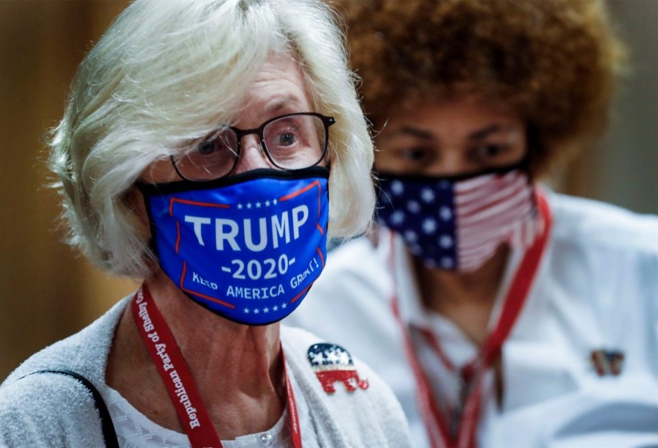 <strong>Donna Howard wearing a Trump 2020 face mask attends the Shelby County Republican Party annual Lincoln Day Gala on Friday, Oct. 23, 2020 in Germantown.</strong> (Mark Weber/The Daily Memphian)