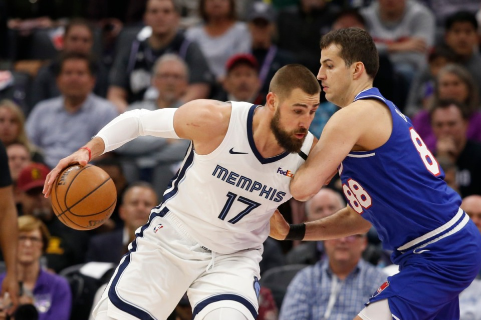 <strong>The Grizzlies have been doing well so far in building a hungry young team. The Marc Gasol trade got Memphis a significantly younger starting center in Jonas Valanciunas, seen here in February, without a reduction in quality.</strong> (Rich Pedroncelli/AP)