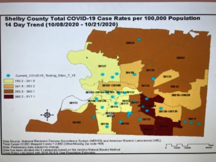 <strong>14-day trend of new COVID-19 cases in Shelby County by ZIP code from Oct. 8-21.</strong> (Credit: Shelby County Health Department)