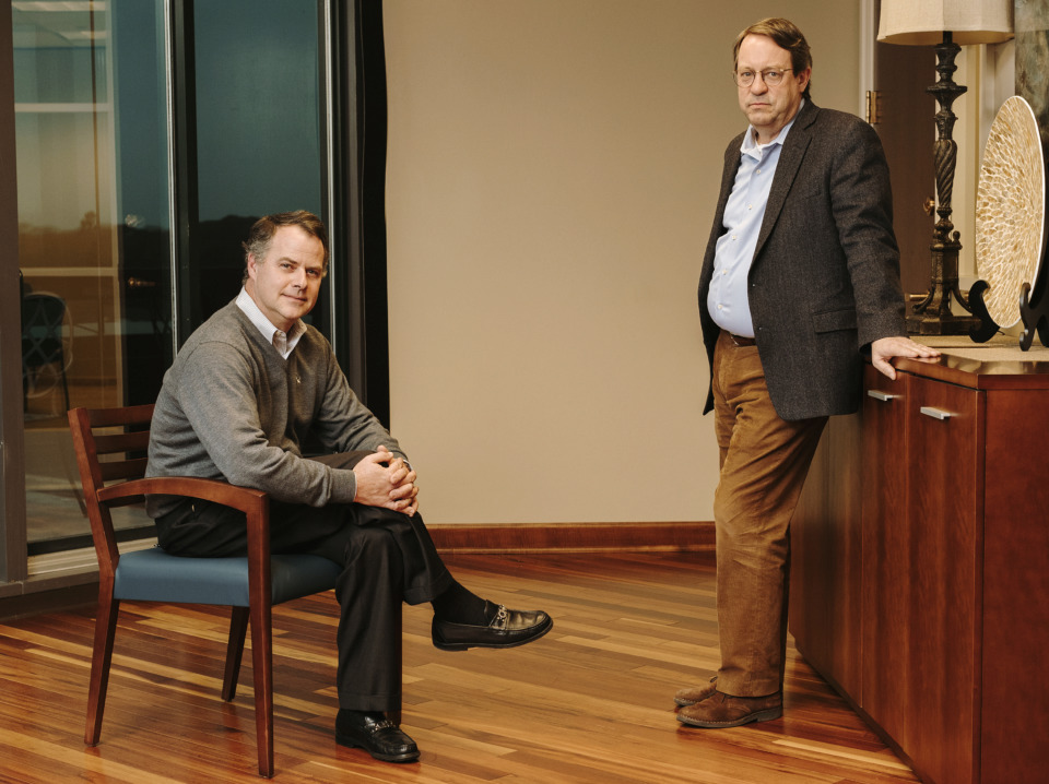 <strong>CEO of Jernigan Capital John Good (right) and Jonathan Perry, Jernigan Capital president, recently assumed their executive positions with the lending company.</strong> (Houston Cofield/Daily Memphian)