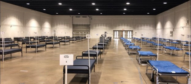<strong>The purpose of the 100-bed EMS Surge facility in the Pipkin Building, 940 Early Maxwell Blvd., is to give ambulance drivers a place to take patients, COVID-19 or otherwise, so they can keep the ambulances running.</strong> (Submitted by Memphis Fire Dept.)
