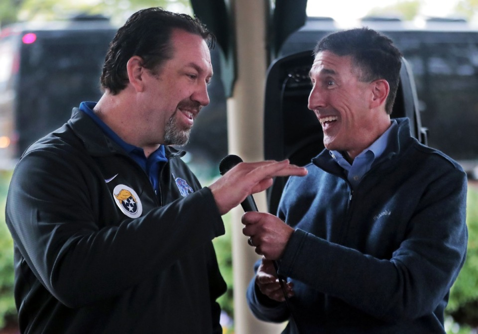 <strong>Tennessee State Rep. Jeremy Faison (left) jokes with U.S. Rep. David Kustoff during a campaign event in Collierville Town Square Oct. 28, 2020.</strong> (Patrick Lantrip/Daily Memphian)