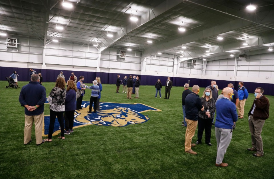 <strong>Arlington High School debuted its new $3.5 million indoor athletic facility during a ribbon cutting event on Wednesday, Oct. 28, 2020.</strong> (Mark Weber/The Daily Memphian)