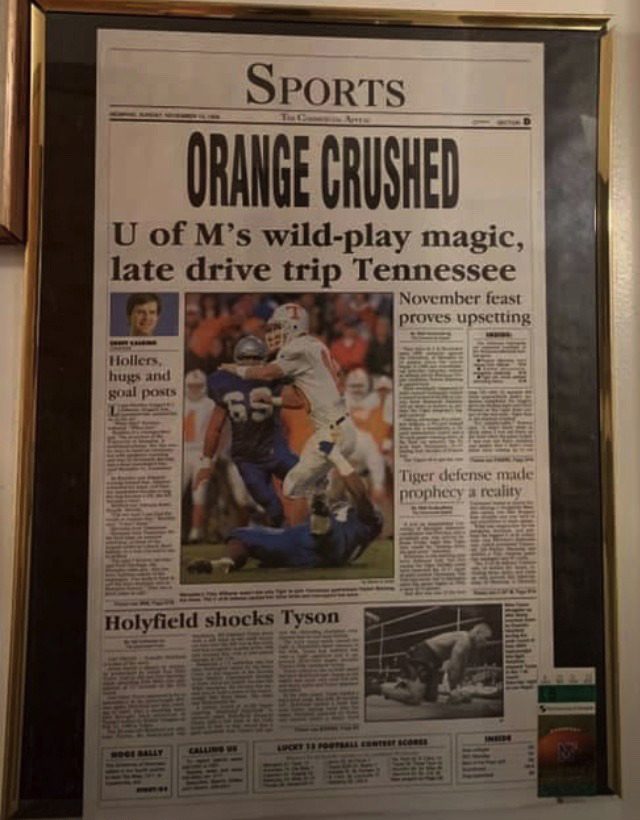 <strong>Thanks to the Tigers beating the Vols in 1996, Geoff Calkins &mdash; well, his column &mdash;&nbsp;hangs in a lot of bathrooms.&nbsp;</strong>(Submitted)