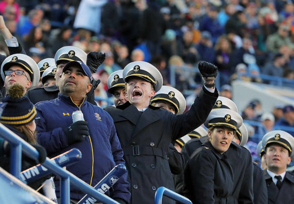 <strong>Last year Navy fans celebrated during a 20-17 victory over Kansas State University at the 61st AutoZone Liberty Bowl Dec. 31, 2019.</strong> (Patrick Lantrip/Daily Memphian)