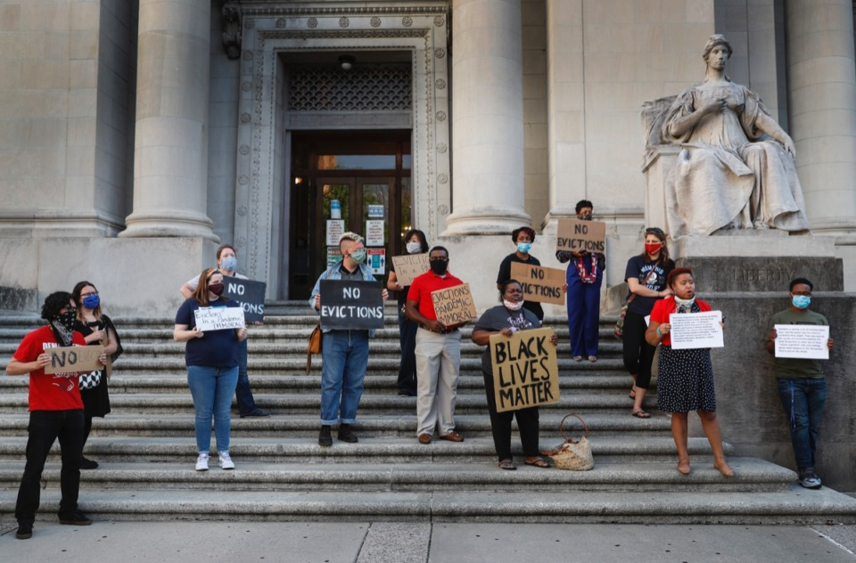 <strong>Jewish Memphians for Social Justice held a gathering on the steps of the Judge D&rsquo;army Bailey Courthouse on Monday, June 15, 2020, as they beg the court to consider the danger of putting families out on the streets during a global pandemic</strong>. (Mark Weber/Daily Memphian file)