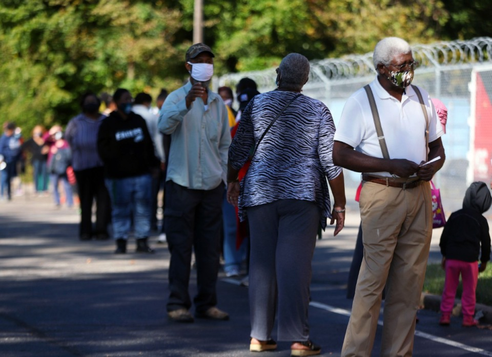 <strong>Voters reported waiting up to 2 hours outside of Pursuit of God Church in Frayser during the first day of early voting in Tennessee Oct. 14, 2020.</strong> (Patrick Lantrip/Daily Memphian)