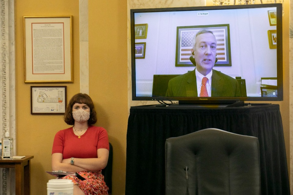 <strong>Tre Hargett, Tennessee Secretary of State, speaks via videoconference about the election, Wednesday, July 22, 2020, to the Senate Rules and Administration Committee, on Capitol Hill in Washington.</strong> (Jacquelyn Martin/AP)