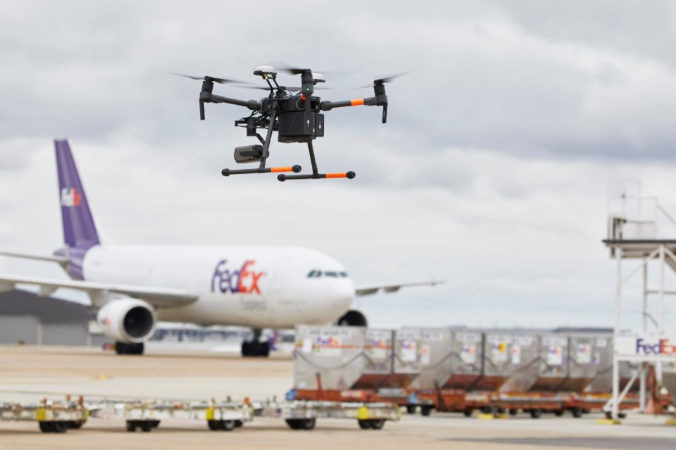 <strong>FedEx Corp. has been working with Memphis International Airport to test use of drones on the airfield.</strong> (Submitted by FedEx)