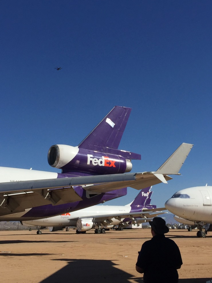 <strong>One of Memphis International Airport's technology partners operates a drone over retired FedEx aircraft at a boneyard in Victorville, California.</strong> (Photo courtesy of Memphis International Airport)