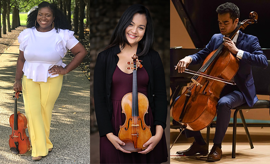 <strong>The inaugural&nbsp;Musician Fellowship Program fellows include, from left to right: Katie Brown, Allison Lovera and Estefan Perez</strong>. (Submitted)