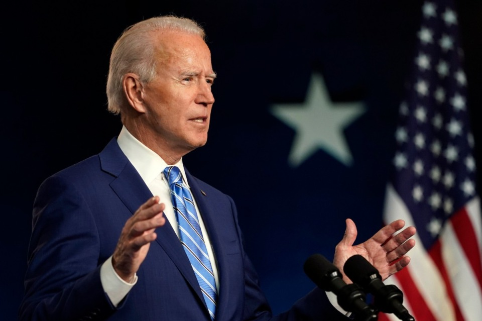 <strong>Democratic presidential candidate former Vice President Joe Biden speaks Wednesday, Nov. 4, 2020, in Wilmington, Del.</strong> (Carolyn Kaster/AP)