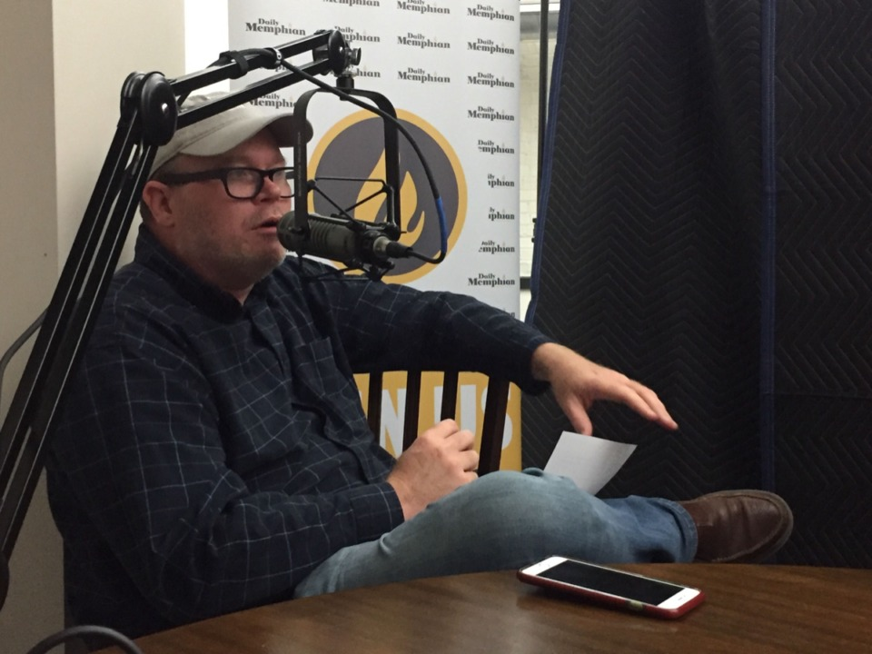 <strong>Chris Herrington, seen here recording a podcast in 2019, covers multiple beats for The Daily Memphian.</strong> (Daily Memphian file photo)