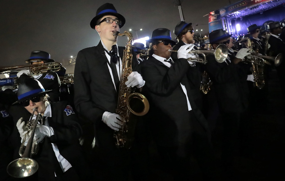 <strong>The Mighty Sound of the South performs at a University of Memphis pep rally Friday, Dec. 21, in the Uptown area of Birmingham. Saturday's Birmingham Bowl marks the Tigers' fifth-straight bowl appearance, setting a program record.</strong> (Jim Weber/Daily Memphian)