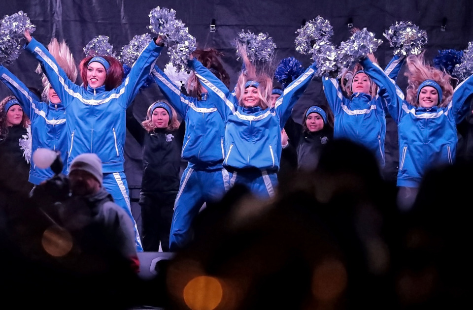 <strong>The Tigers Spirit Squad performs at a University of Memphis pep rally in the Uptown area of Birmingham on Friday, Dec. 21. The Tigers' Birmingham Bowl matchup against Wake Forest Saturday marks the first meeting between the two teams since 1967.</strong> (Jim Weber/Daily Memphian)