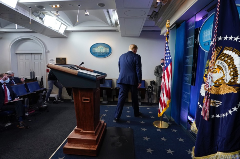 <strong>President Donald Trump walks away after speaking at the White House, Thursday, Nov. 5, 2020, in Washington.</strong> (Evan Vucci/AP)
