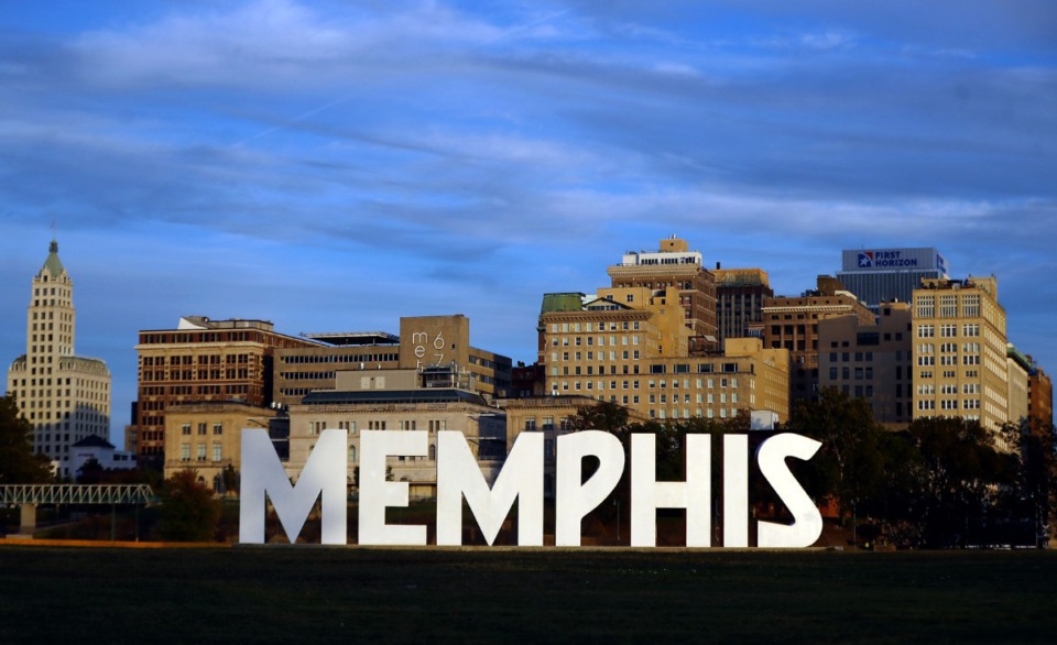 The scenic backdrop of Downtown Memphis can be seen Oct. 31, 2020 behind the Memphis sign on Mud Island. (Patrick Lantrip/Daily Memphian)