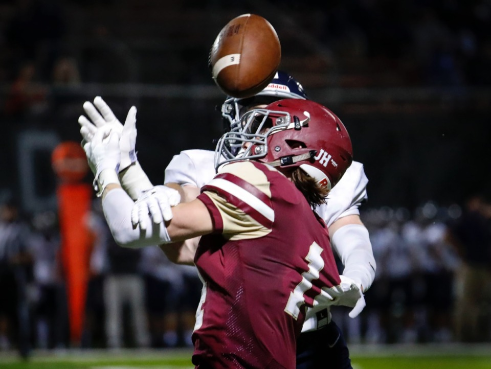<strong>ECS receiver Will Arthur (front) can not haul in a catch against the Franklin Road Academy defense on Friday, Nov. 6, 2020.</strong> (Mark Weber/The Daily Memphian)