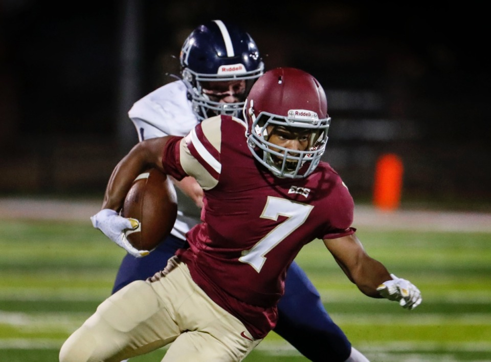 <strong>ECS receiver Jamison Smith (front) grabs pass against the Franklin Road Academy defense on Friday, Nov. 6, 2020.</strong> (Mark Weber/The Daily Memphian)