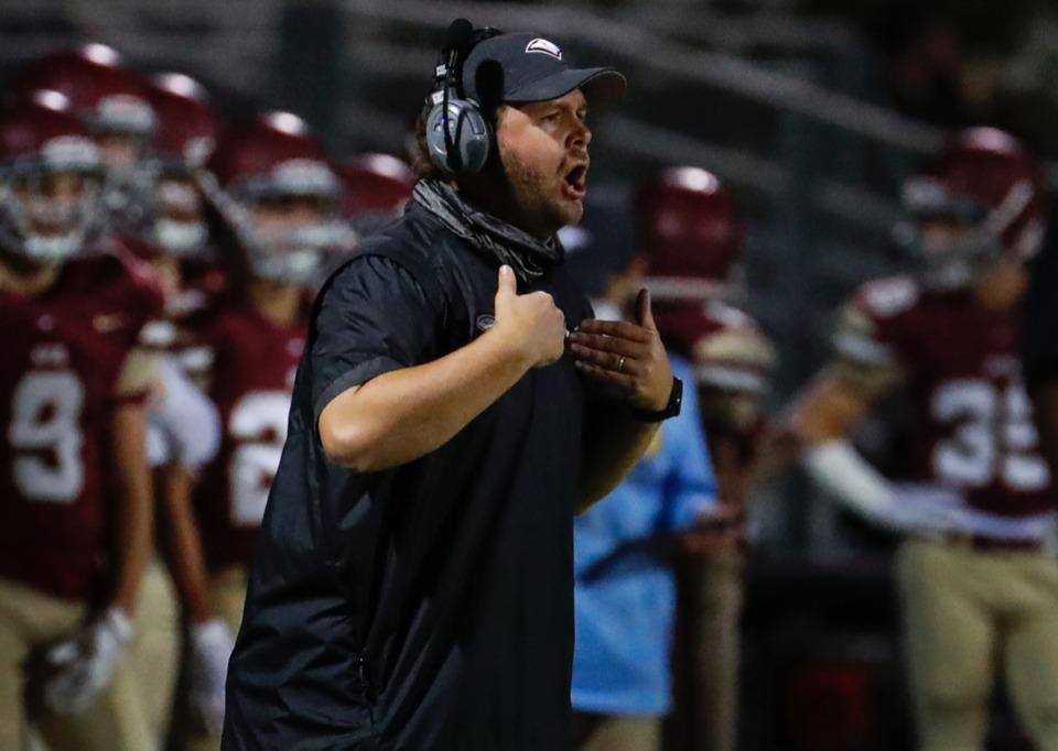 <strong>ECS head coach Trey Adams yells instructions as his team plays Franklin Road Academy on Friday, Nov. 6, 2020.</strong> (Mark Weber/The Daily Memphian)